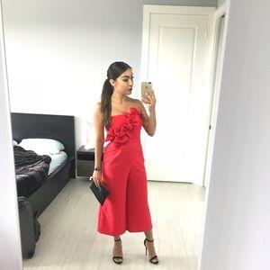 • Topshop Red Ruffle Culotte Romper •